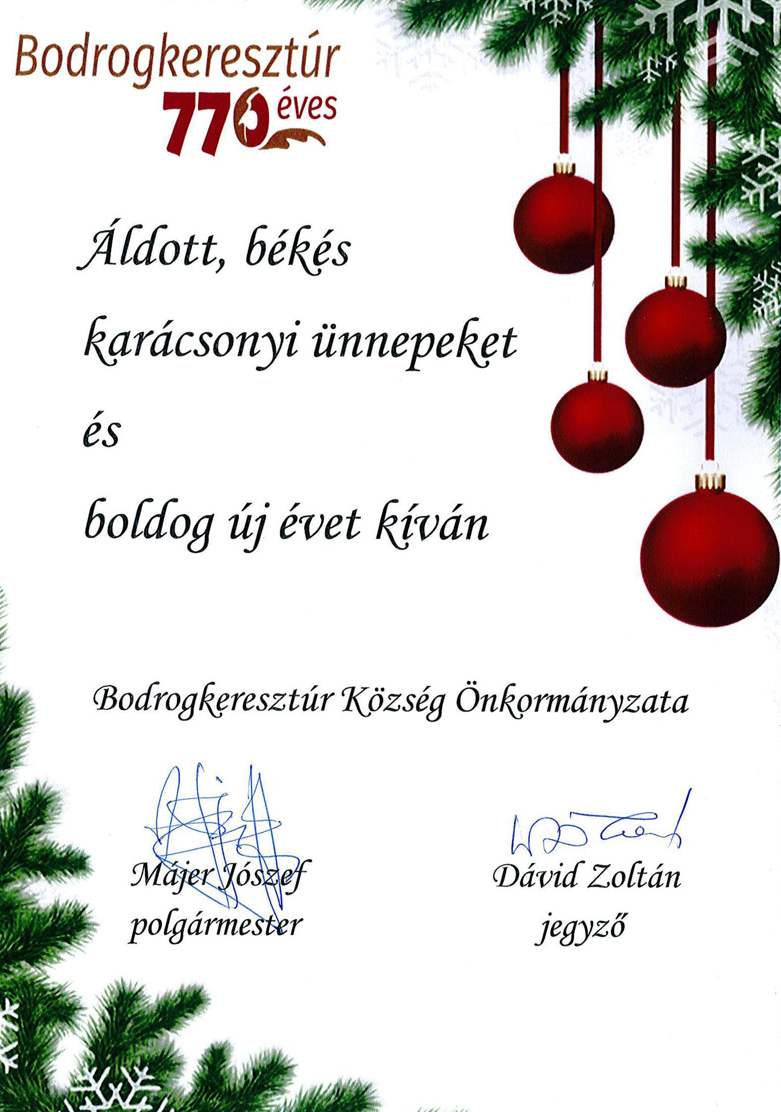 Polgármester karácsonyi köszöntője